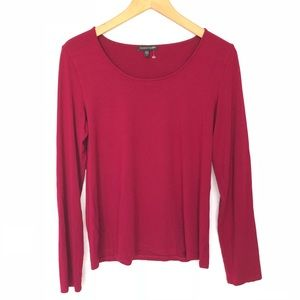 Eileen Fisher Long Sleeves Top Shirt M Wine Red